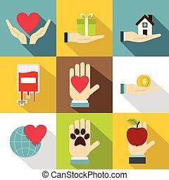 Philanthropy icons set, flat style - Philanthropy icons set....
