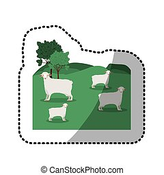 sticker of landscape with sheep and trees