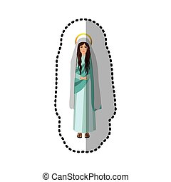 sticker figure human of saint virgin maria vector...