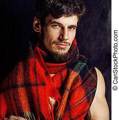 portrait of handsome mature modern bearded hipster brutal...