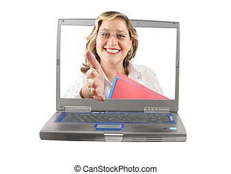 Woman computer handshake - Woman with a friendly smile...