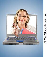 握手, 婦女, 電腦