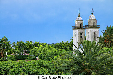 Bell towers of Basilica of the Holy Sacrament in Colonia del...