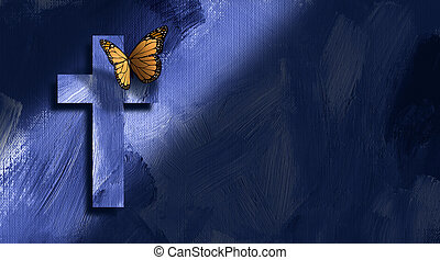 Graphic Christian cross and butterfly