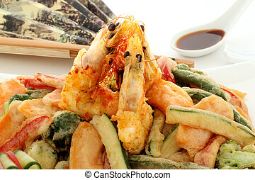 Tempura - Japanese fried tempura with shrimp and vegetables...