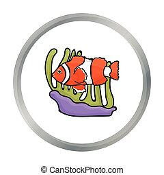 Clownfish and anemone icon in cartoon style isolated on...