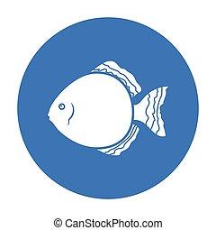 Discus fish icon black. Singe aquarium fish icon from the sea,ocean life black.