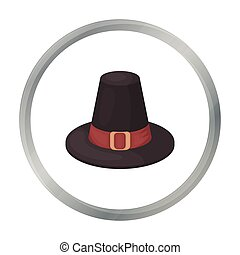 Pilgrim hat icon in cartoon style isolated on white...