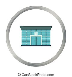 Bank icon cartoon. Single building icon from the big city...