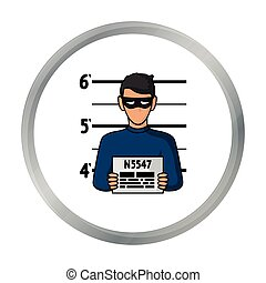 Prisoner's photography icon in cartoon style isolated on...