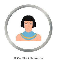 Egyptian man icon in cartoon style isolated on white background. Ancient Egypt symbol stock vector illustration.
