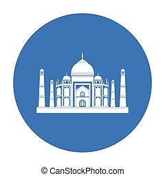 Taj Mahal icon in black style isolated on white background....