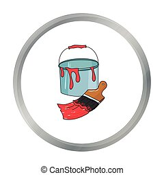 Bucket of paint and paintbrush icon in cartoon style isolated on white background. Artist and drawing symbol stock vector illustration.