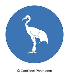Red-crowned crane icon in black style isolated on white background. Japan symbol stock vector illustration.