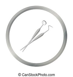 Dental instruments icon in cartoon style isolated on white...