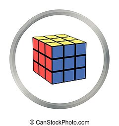 Rubik's cube icon in pattern - stock vector