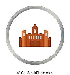 Castle icon cartoon. Single building icon from the big city...