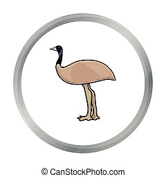 Emu icon in cartoon style isolated on white background....