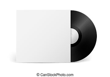 Realistic vector music gramophone vinyl LP record with cover...