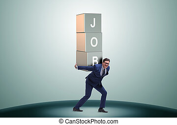 Businessman carrying the burden of his job