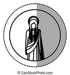 circular sticker with silhoutte figure human of saint virgin...