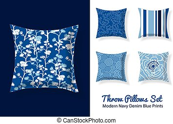 Set Of Throw Pillows In Matching Modern Denim Blue and Navy...