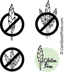 Vector Set Of Four Gluten Free Symbols With Banned Wheat...