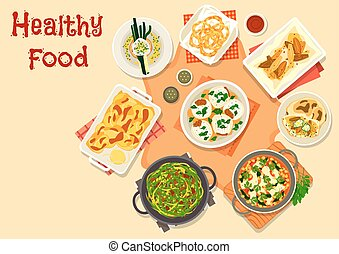 Vegetarian dinner icon for healty food design - Healthy...