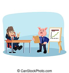 business pig reporting to his boss