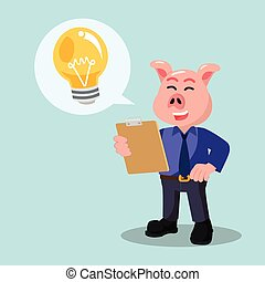 business pig with bulb callout