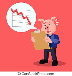 business pig with decrease reportment