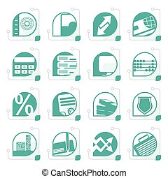 Stylized bank, business, finance and office icons
