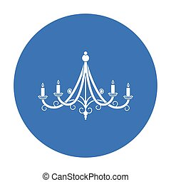 Chandelier icon in black style isolated on white background. Light source symbol stock vector illustration