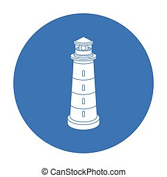 Lighthouse icon in black style isolated on white background. Light source symbol stock vector illustration