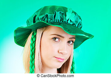 Saint Patrick day concept with young girl