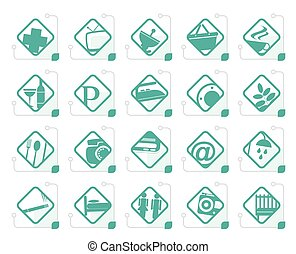 Stylized Hotel and Motel objects - Realistic Vector Icon set