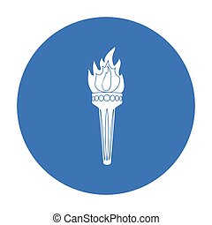 Olympic torch icon in black style isolated on white background. Greece symbol stock vector illustration.