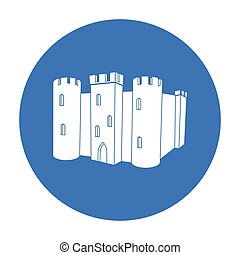 English castle icon in black style isolated on white...