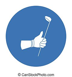 Holding of a golf club icon in black style isolated on white...