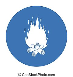 Campfire icon in black style isolated on white background. Light source symbol stock vector illustration