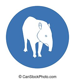 Mexican tapir icon in black style isolated on white...