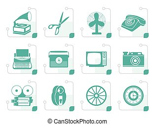 Stylized Retro business and office object icons