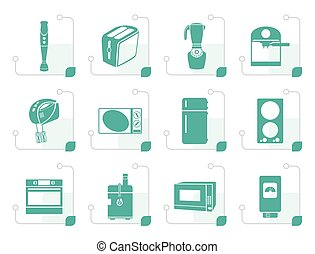Stylized Kitchen and home equipment icons