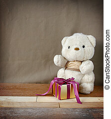 Cute Teddy Bear with Elegance Golden Gift Box for...