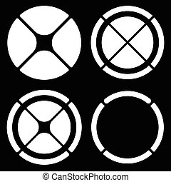 Set of circular crosshair (target mark) symbols or pie chart, pie graph elements. Segmented circle composite shapes