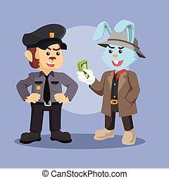 mafia rabbit bribing police monkey