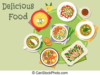 Tasty dinner icon with healthy food dishes - Nutritious...