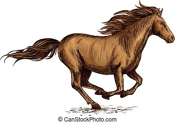 Running horse sketch for equestrian sport design - Brown...