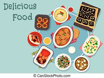 Dinner with fruit and chocolate desserts icon - Dinner with...