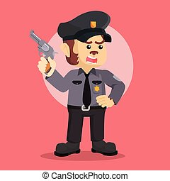 police monkey officer holding gun